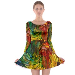 Stained Glass Patterns Colorful Long Sleeve Skater Dress