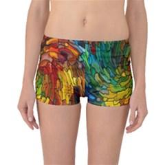 Stained Glass Patterns Colorful Boyleg Bikini Bottoms