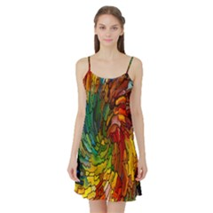 Stained Glass Patterns Colorful Satin Night Slip