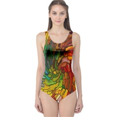 Stained Glass Patterns Colorful One Piece Swimsuit