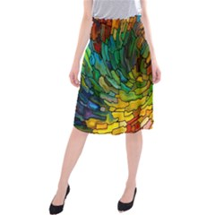 Stained Glass Patterns Colorful Midi Beach Skirt