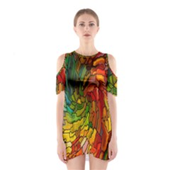Stained Glass Patterns Colorful Shoulder Cutout One Piece