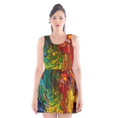 Stained Glass Patterns Colorful Scoop Neck Skater Dress