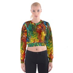 Stained Glass Patterns Colorful Women s Cropped Sweatshirt