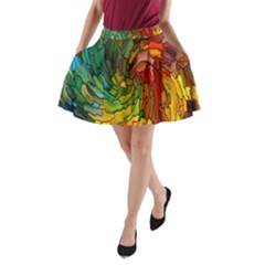 Stained Glass Patterns Colorful A-Line Pocket Skirt