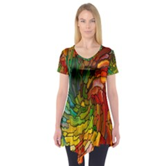 Stained Glass Patterns Colorful Short Sleeve Tunic