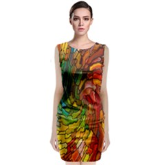Stained Glass Patterns Colorful Classic Sleeveless Midi Dress