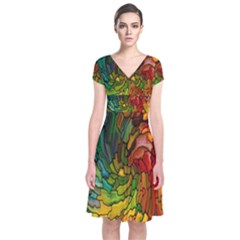 Stained Glass Patterns Colorful Short Sleeve Front Wrap Dress