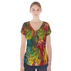 Stained Glass Patterns Colorful Short Sleeve Front Detail Top