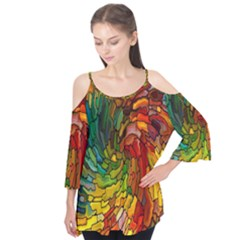Stained Glass Patterns Colorful Flutter Tees
