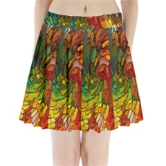 Stained Glass Patterns Colorful Pleated Mini Skirt