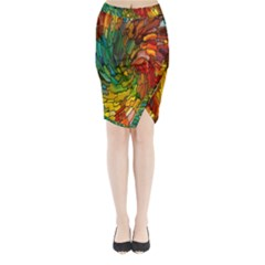 Stained Glass Patterns Colorful Midi Wrap Pencil Skirt