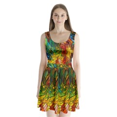 Stained Glass Patterns Colorful Split Back Mini Dress