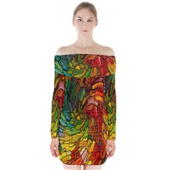 Stained Glass Patterns Colorful Long Sleeve Off Shoulder Dress