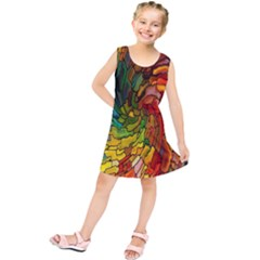 Stained Glass Patterns Colorful Kids  Tunic Dress