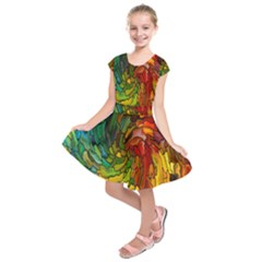 Stained Glass Patterns Colorful Kids  Short Sleeve Dress