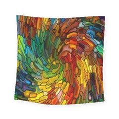 Stained Glass Patterns Colorful Square Tapestry (small)