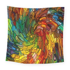 Stained Glass Patterns Colorful Square Tapestry (large)