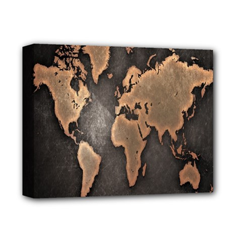 Grunge Map Of Earth Deluxe Canvas 14  X 11