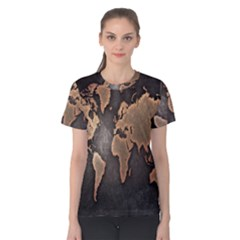 Grunge Map Of Earth Women s Cotton Tee