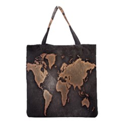 Grunge Map Of Earth Grocery Tote Bag