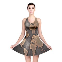 Grunge Map Of Earth Reversible Skater Dress