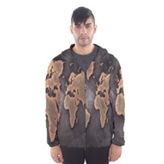 Grunge Map Of Earth Hooded Wind Breaker (men)