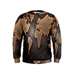 Grunge Map Of Earth Kids  Sweatshirt