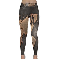 Grunge Map Of Earth Classic Yoga Leggings