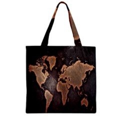 Grunge Map Of Earth Zipper Grocery Tote Bag