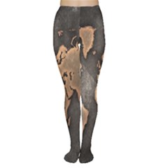 Grunge Map Of Earth Women s Tights