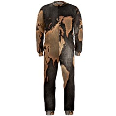 Grunge Map Of Earth Onepiece Jumpsuit (men)