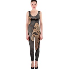 Grunge Map Of Earth OnePiece Catsuit