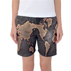 Grunge Map Of Earth Women s Basketball Shorts