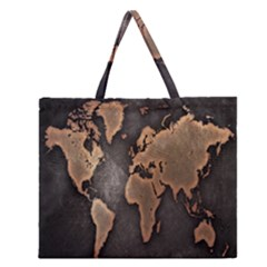 Grunge Map Of Earth Zipper Large Tote Bag