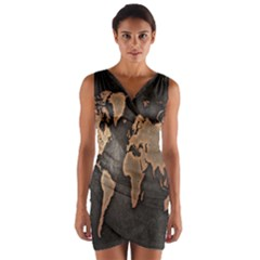 Grunge Map Of Earth Wrap Front Bodycon Dress
