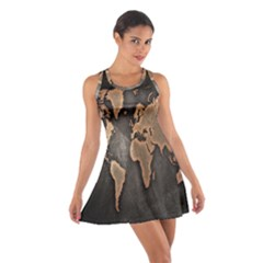 Grunge Map Of Earth Cotton Racerback Dress