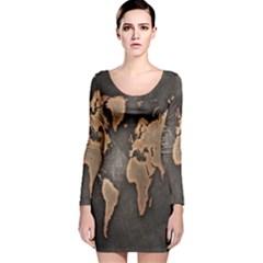 Grunge Map Of Earth Long Sleeve Velvet Bodycon Dress