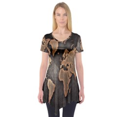Grunge Map Of Earth Short Sleeve Tunic