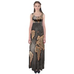 Grunge Map Of Earth Empire Waist Maxi Dress