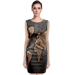 Grunge Map Of Earth Classic Sleeveless Midi Dress