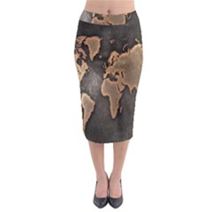 Grunge Map Of Earth Midi Pencil Skirt