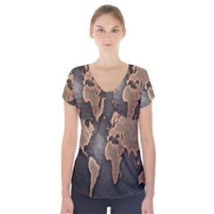 Grunge Map Of Earth Short Sleeve Front Detail Top