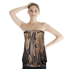 Grunge Map Of Earth Strapless Top