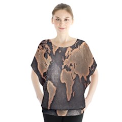 Grunge Map Of Earth Blouse