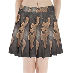 Grunge Map Of Earth Pleated Mini Skirt