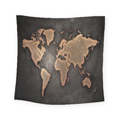 Grunge Map Of Earth Square Tapestry (small)