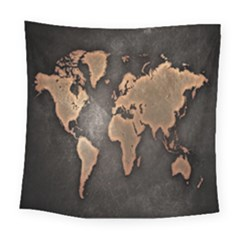 Grunge Map Of Earth Square Tapestry (large)