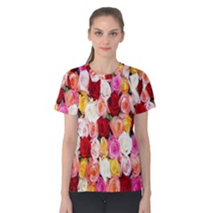 Rose Color Beautiful Flowers Women s Cotton Tee