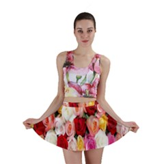 Rose Color Beautiful Flowers Mini Skirt